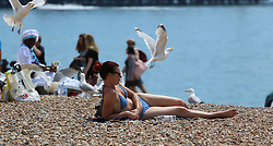 © London News Pictures. 12/06/2014. Brighton, UK. A young couple soak up the sunshine on Brighton Beach today. Parts of the UK are experiencing the hottest day of the year so far with temperatures expected to rise. Photo credit : Hugo Michiels/LNP
