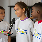 August 15, 2014, New Haven, CT:<br /> Kids from the New HYTEs youth development organization inroduce themselves during the draw ceremony at the 2014 Connecticut Open at the Yale University Tennis Center in New Haven, Connecticut Friday, August 15, 2014.<br /> (Photo by Billie Weiss/Connecticut Open)