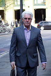 PR expert Max Clifford arrives for his trial at Southwark Crown Court, London, United Kingdom. Tuesday, 8th April 2014. Picture by Max Nash / i-Images