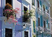 Colorful facade of apartment houses on Calle de Tetuán in Old San Juan, Puerto Rico.