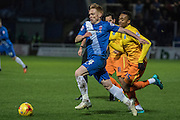 Hartlepool United midfielder Michael Woods makes a run into the box followed by Jermain Jombati (Midfielder) of Wycombe Wanderers during the Sky Bet League 2 match between Hartlepool United and Wycombe Wanderers at Victoria Park, Hartlepool, England on 16 January 2016. Photo by George Ledger.