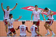 (L-R) Jakub Jarosz and Luasz Zygadlo and Michal Kubiak and Marcin Mozdzonek and Piotr Nowakowski and Bartosz Kurek all from Poland celebrate after winning point during the 2013 CEV VELUX Volleyball European Championship match between Poland v Slovakia at Ergo Arena in Gdansk on September 22, 2013.<br /> <br /> Poland, Gdansk, September 22, 2013<br /> <br /> Picture also available in RAW (NEF) or TIFF format on special request.<br /> <br /> For editorial use only. Any commercial or promotional use requires permission.<br /> <br /> Mandatory credit:<br /> Photo by &copy; Adam Nurkiewicz / Mediasport
