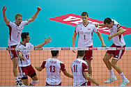 (L-R) Jakub Jarosz and Luasz Zygadlo and Michal Kubiak and Marcin Mozdzonek and Piotr Nowakowski and Bartosz Kurek all from Poland celebrate after winning point during the 2013 CEV VELUX Volleyball European Championship match between Poland v Slovakia at Ergo Arena in Gdansk on September 22, 2013.<br /> <br /> Poland, Gdansk, September 22, 2013<br /> <br /> Picture also available in RAW (NEF) or TIFF format on special request.<br /> <br /> For editorial use only. Any commercial or promotional use requires permission.<br /> <br /> Mandatory credit:<br /> Photo by © Adam Nurkiewicz / Mediasport