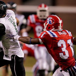 Sep 30, 2009; Ruston, LA, USA; Hawaii Warriors wide receiver Greg Salas (1) runs after a catch as Louisiana Tech Bulldogs cornerback Chad Boyd (31) pursues the play in the fourth quarter at Joe Aillet Stadium. Louisiana Tech defeated Hawaii 27-6. Mandatory Credit: Derick E. Hingle-US PRESSWIRE