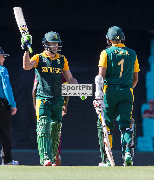 ICC Cricket World Cup 2015 Tournament Match, South Africa v West Indies, Sydney Cricket Ground; 27th February 2015<br /> South Africa&rsquo;s Francois Du Plessis scores his 50