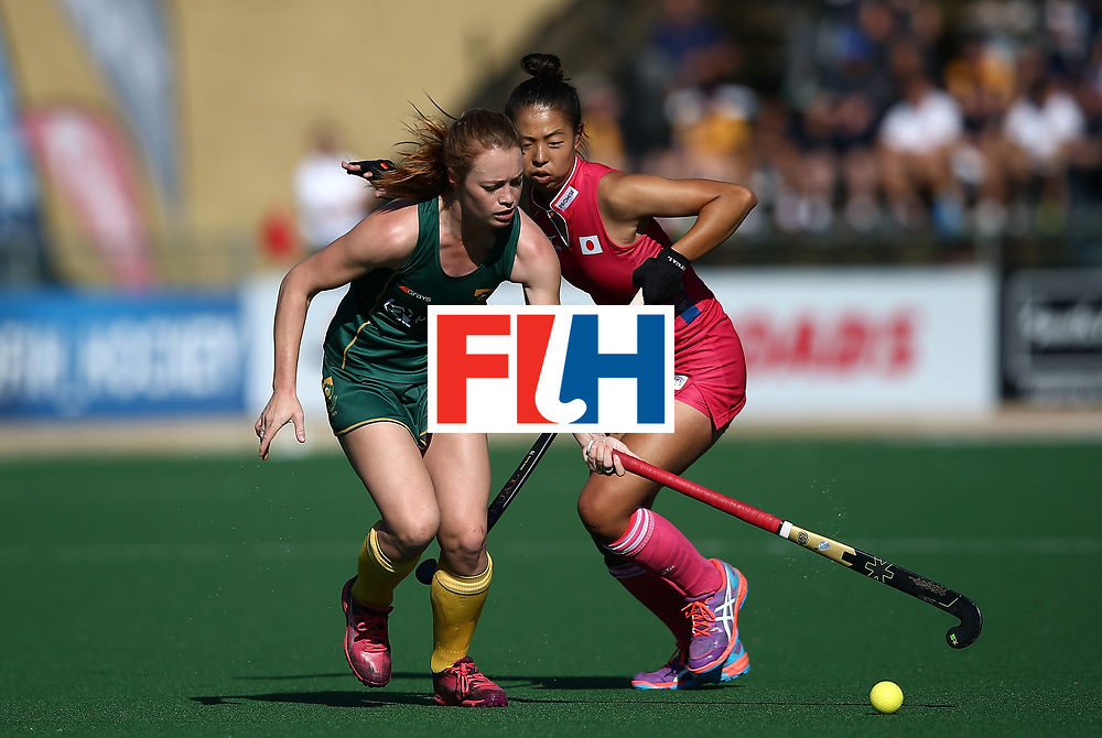 JOHANNESBURG, SOUTH AFRICA - JULY 22:  Lillian du Plessis of South Africa controls the ball from Yu Asai of Japan day 8 of the FIH Hockey World League Women's Semi Finals 5th/ 6th place match between Japan and South Africa at Wits University on July 22, 2017 in Johannesburg, South Africa.  (Photo by Jan Kruger/Getty Images for FIH)