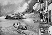 Russo-Japanese War 1904-1905: Russian vessel 'Variag' sinking at Chemulp, 9 February 1904. The French cruiser 'Pascal' rescuing survivors.