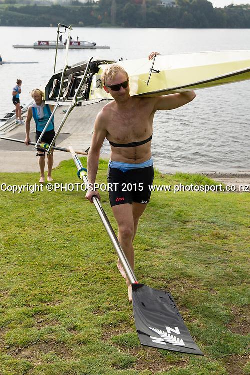 Men's Coxless Pair Hamish Bond at the Rowing NZ Media Day, Lake Karapiro, Cambridge, New Zealand, Wednesday 6 May 2015. Photo: Stephen Barker/Photosport.co.nz