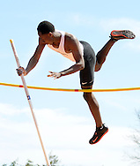 William Tennent's Isaiah Alston competes in the pole vault at the Central Bucks West Relays Saturday April 18, 2015 in Doylestown, Pennsylvania.  (Photo by William Thomas Cain/Cain Images)