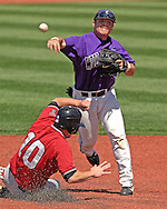 Kansas State shortstop Eli Rumler (R) throws to first base, after forcing out Texas Tech's James Leverton (10) at second base in the top of the third inning at Tointon Stadium in  Manhattan, Kansas, April 1, 2007.  Kansas State defeated Texas Tech 7-3.