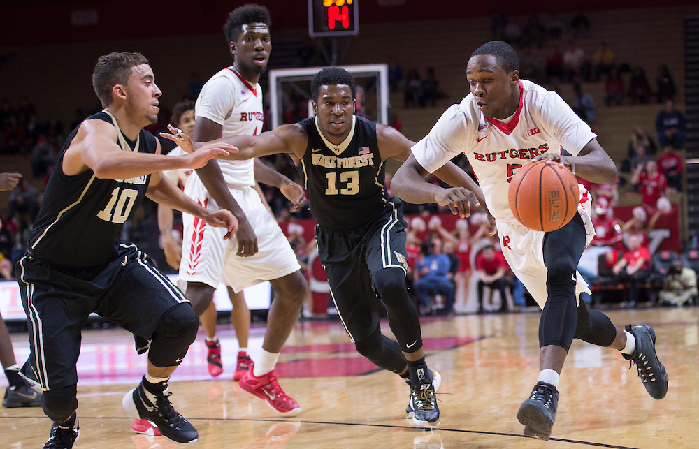 The Rutgers Scarlet Knights take on Wake Forest at the RAC on Monday night, November 30, 2015.<br /> (Ben Solomon/Rutgers Athletics)