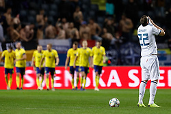 November 21, 2018 - Stockholm, Sweden - Artem Dzyuba (R) of Russia reacts as Sweden players celebrate a goal in the background during the UEFA Nations League B Group 2 match between Sweden and Russia on November 20, 2018 at Friends Arena in Stockholm, Sweden. (Credit Image: © Mike Kireev/NurPhoto via ZUMA Press)