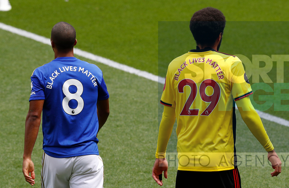 Black Lives Matter replaces the players names on the back of the players shirts during the Premier League match at Vicarage Road, Watford. Picture date: 20th June 2020. Picture credit should read: Darren Staples/Sportimage