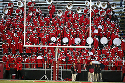 25 September 2010:  The Big Red Marching Machine dons long coats on a chilly rainy night in the south end zone stands.  The Missouri State Bears lost to the Illinois State Redbirds 44-41 in double overtime, meeting at Hancock Stadium on the campus of Illinois State University in Normal Illinois.