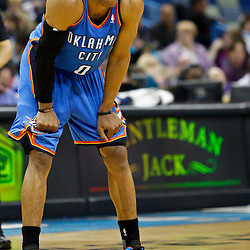 January 24,  2011; New Orleans, LA, USA; Oklahoma City Thunder point guard Russell Westbrook (0) against the New Orleans Hornets during the first half at the New Orleans Arena. The Hornets defeated the Thunder 91-89. Mandatory Credit: Derick E. Hingle