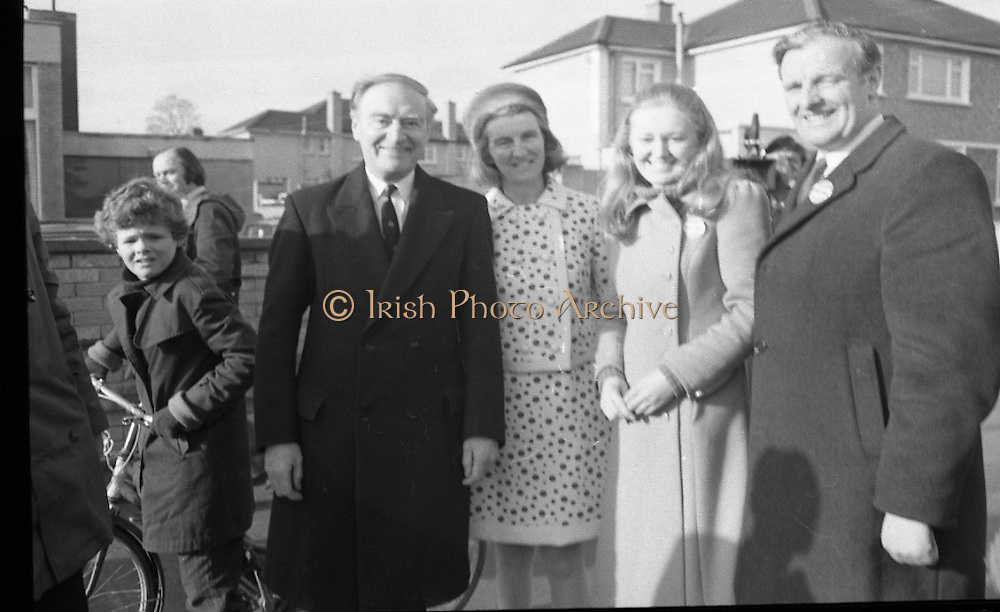 Liam Cosgrave Votes In General Election (E47).1973..28.02.1973..02.28.1973..28th February 1973..After sixteen consecutive years of Fianna Fail Government the Irish people went to the polls today to elect a new government. Mr Liam Cosgrave hoped that a coalition with Labour would oust the current office holders..Pictured with a supporter ,the Cosgrave family pose for pictures after casting their votes in the general election.