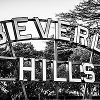 Beverly Hills sign black and white picture. The Beverly Hills sign is located in Beverly Gardens Park in Los Angeles County. Beverly Hills is an affluent city in Southern California in the United States.