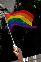 SAN FRANCISCO, CA - JUNE 24 : A man waves a flag during the 37th annual LBGT Pride Parade on June 24, 2007 in San Francisco, California. Hundreds of thousands of people lined the streets of San Francisco to watch and take part in the parade.  (Photograph by David Paul Morris)