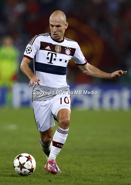 Uefa Champions League-2014-2015 / Group E / <br /> As Roma vs Fc Bayern Munich 1-7  ( Olympic Stadium, Roma - Italy ) <br /> Arjen Robben of Fc Bayern Munich  ,on action during the match between As Roma and Fc Bayern Munich