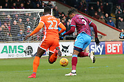 Shrewsbury Town forward Carlton Morris (9) attacking  during the EFL Sky Bet League 1 match between Scunthorpe United and Shrewsbury Town at Glanford Park, Scunthorpe, England on 17 March 2018. Picture by Mick Atkins.