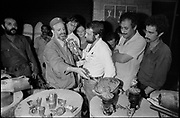 Beirut, Lebanon June 30th 1982. Fakr-Ani, Plo headquater in west Beirut.  Mr Yassir Arafat, Chairman of the palestinian organisation, answering questions of the journalists in front of the entrance of the Plo building where an unformal exhibition of Israeli projectiles and explosives found in the lebanese capital after the beggining of the Israeli invasion. ©Herve Merliac