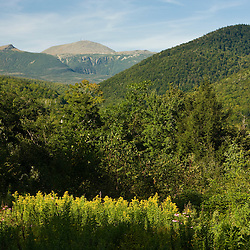 Mount Washington as seen from Crawford Notch State Park in new Hampshire's White Mountains.