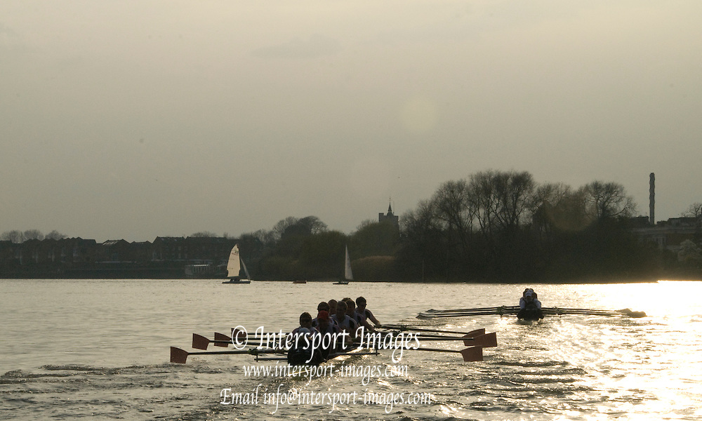 London, Great Britain. Oxford, OUBC [Blue Boat] v. Leander Club, view from the Umpires Launch, as Oxford draw away from Leander,  Pre Boat race fixture over the Championship Course  River Thames. Single race piece - Putney to Chiswick Pier.  on Saturday  12/03/2011 [Mandatory Credit; Karon Phillips/Intersport Images]..Crews:.Oxford OUBC: Bow Moritz HAFNER, Ben MYERS, Dave WHIFFIN,  Ben ELLISON,  Karl HUDSPITH,  Alec DENT,  George WHITTAKER, Stroke Constantine LOULOUDIS, Cox Sam WINTER-LEVY. ..Leander: Bow Oliver HOLT,  Will GRAY,  Graham HALL,  John CLAY,  James ORME,  Tom CLARK,  Ben DUGGAN, Stroke David LAMBOURN, Cox Alex OLIJNYK..