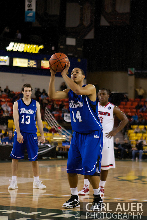 November 26th, 2010:  Anchorage, Alaska - Drake Bulldog freshman forward Jeremy Jeffers (14) at the free throw line in the Bulldog's loss to St. Johns at the Great Alaska Shootout.  The Red Storm defense held Drake to a tournament low score as St. Johns advanced to the final game 82-39.