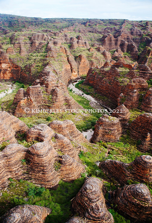 A dry watercourse winds into the Bungle Bungles in Purnululu National Park in Western Australia's East Kimberley region.