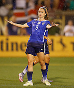 CHATTANOOGA, TN - AUGUST 19:  Midfielder Heather O'Reilly #9 of the United States gestures in the first half during the friendly match against Costa Rica at Finley Stadium on August 19, 2015 in Chattanooga, Tennessee.  (Photo by Mike Zarrilli/Getty Images)