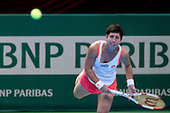 Carla Suarez Navarro from Spain competes in WTA women's tennis tournament BNP Paribas Katowice Open 2014 at Spodek Hall in Katowice, Poland.<br /> <br /> Poland, Katowice, April 09, 2014<br /> <br /> Picture also available in RAW (NEF) or TIFF format on special request.<br /> <br /> For editorial use only. Any commercial or promotional use requires permission.<br /> <br /> Mandatory credit:<br /> Photo by © Adam Nurkiewicz / Mediasport