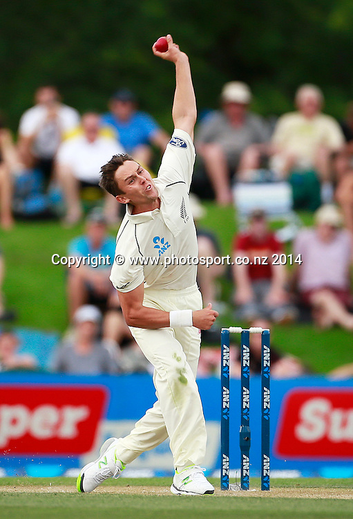 Trent Boult of the Black Caps bowling on Day 2 of the boxing Day Cricket Test Match between the Black Caps v Sri Lanka at Hagley Oval, Christchurch. 27 December 2014 Photo: Joseph Johnson / www.photosport.co.nz