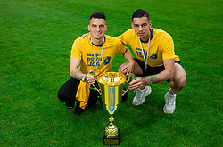 Tadej Zagar Knez and Mitja Krizan during celebration of NK Bravo, winning team in 2nd Slovenian Football League in season 2018/19 after they qualified to Prva Liga, on May 26th, 2019, in Stadium ZAK, Ljubljana, Slovenia. Photo by Vid Ponikvar / Sportida