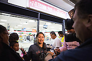 Divina Silvas, daughter of N. Milpitas Blvd. 7-Eleven owner Frank Silvas, speaks to media during a candle lit vigil on Sept. 14, 2012, in memory of Mohammad Reza Sadeghzadeh, a 67-year-old 7-Eleven night clerk who was murdered on Sept. 8 during a 2:13 a.m. robbery.  Photo by Stan Olszewski/SOSKIphoto.