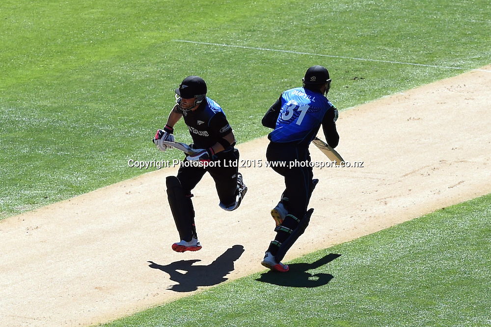 New Zealand openers Brendon McCullum and Martin Guptill scamper for a single during the ICC Cricket World Cup Quaterfinal match between New Zealand and West Indies at Westpac Stadium in Wellington, New Zealand. Saturday 21  March 2015. Copyright Photo: Raghavan Venugopal / www.photosport.co.nz