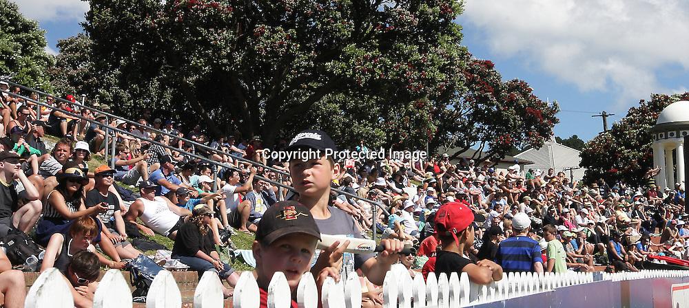 Some young fans during a Twenty20 Cricket match - HRV Cup, Wellington Firebirds v Auckland Acess, 28 December 2011, Hawkins Basin Reserve, Wellington. . PHOTO: Grant Down / photosport.co.nz