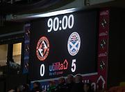 30th November 2018, Tannadice Park, Dundee, Scotland; Scottish Championship football, Dundee United versus Ayr United; Scoreboard at full time