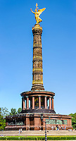 Berlin, Germany. Victory Column, with the bronze sculpture of the goddess Victoria, 8.3 meters high and weighing 35 tonnes.  Built 1873.