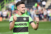 Forest Green Rovers Liam Shephard(2) applauds the fans at the final whistle during the EFL Sky Bet League 2 match between Forest Green Rovers and Cambridge United at the New Lawn, Forest Green, United Kingdom on 22 April 2019.