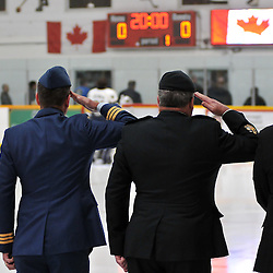 TRENTON, ON - Nov 9: Ontario Junior Hockey League game between Whitby Fury and Trenton Golden Hawks. National Anthem and Remembrance Day ceremony..(Photo by Shawn Muir / OJHL Images)