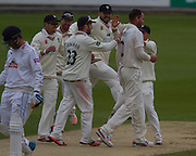 John Hastings (Durham County Cricket Club)is congratulated after taking the wicket of Will Smith (Hampshire CCC) during the LV County Championship Div 1 match between Durham County Cricket Club and Hampshire County Cricket Club at the Emirates Durham ICG Ground, Chester-le-Street, United Kingdom on 2 September 2015. Photo by George Ledger.