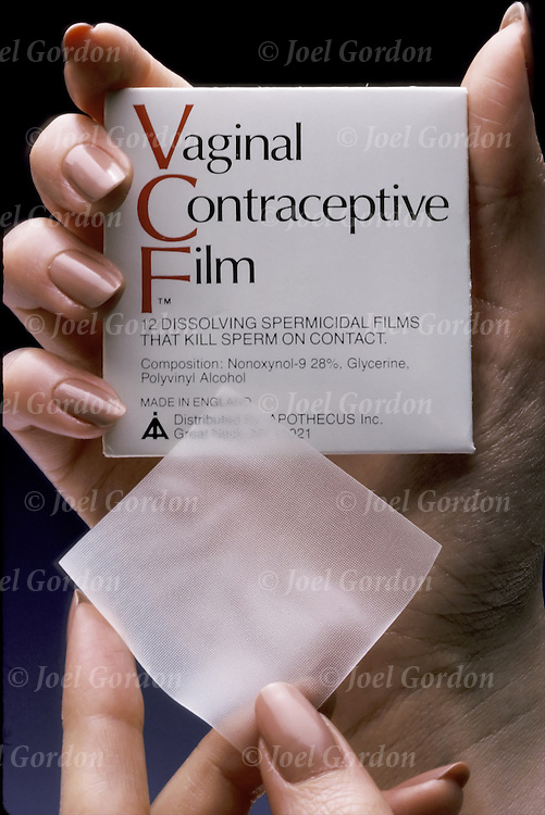 Vaginal Contraceptive Film birth control. Contraceptive film is amony the types of spermicides that are available with a prescription How to use, apply every time before sex. Does not protect against STIs