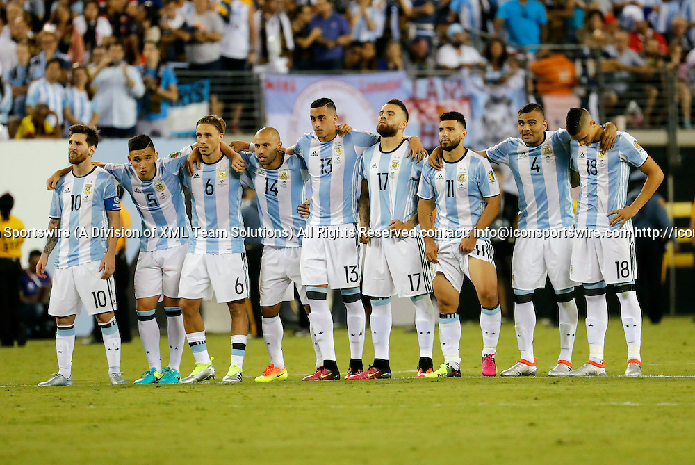 26 June 2016: Argentina watches their hopes of winning dwindle during penalty kicks. Chile defeated Argentina (4-2 pen) in the 2016 Copa America final at MetLife Stadium in East Rutherford, New Jersey. (Photograph by Fred Kfoury III/Icon Sportswire)