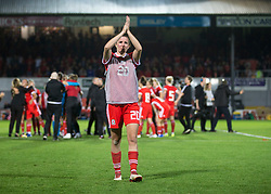 NEWPORT, WALES - Thursday, August 30, 2018: Wales' Helen Ward thanks the crowd after the FIFA Women's World Cup 2019 Qualifying Round Group 1 match between Wales and England at Rodney Parade. (Pic by Laura Malkin/Propaganda)