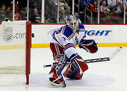November 14, 2007; Newark, NJ, USA;  New York Rangers goalie Henrik Lundqvist (30) makes a save during the second period at the Prudential Center in Newark, NJ.