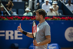 April 27, 2018 - Barcelona, Catalonia, Spain - GRIGOR DIMITROV (BUL) discusses during his quarter final of the 'Barcelona Open Banc Sabadell' 2018 against Pablo Carreno Busta (ESP) .  Carreno Busta won 6:3, 7:6 (Credit Image: © Matthias Oesterle via ZUMA Wire)
