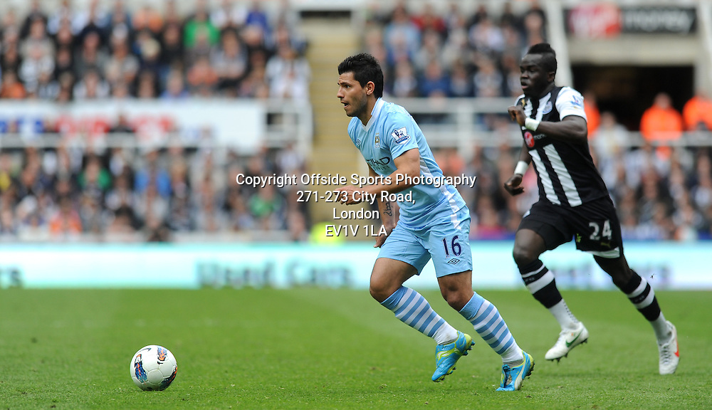 06/05/2012 - Barclays Premier League Football - 2011-2012 - Newcastle United v Manchester City - Sergio Aguero attacks for City. - Photo: Charlie Crowhurst / Offside.
