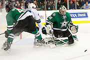 DALLAS, TX - OCTOBER 17:  Dan Ellis #30 of the Dallas Stars blocks a shot against the San Jose Sharks on October 17, 2013 at the American Airlines Center in Dallas, Texas.  (Photo by Cooper Neill/Getty Images) *** Local Caption *** Dan Ellis