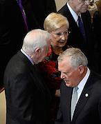 Georgia Gov. Nathan Deal, center, walks past former President Jimmy Carter during a memorial service for Georgia Gov. Carl Sanders at Second Ponce de Leon Baptist Church on Saturday, Nov. 22, 2014, in Atlanta. Six living Georgia governors attending the service included Deal, Carter, Sonny Perdue, Roy Barnes, Zell Miller, and Joe Frank Harris. Photo by David Tulis