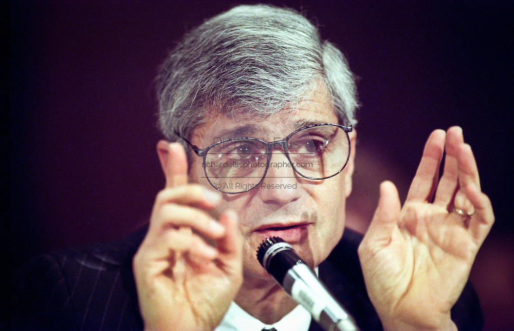 Treasury Secretary Robert Rubin discusses the proposed Year 2000 Federal Budget in the Senate Finance committee February 2, 1999 in Washington, DC. Rubin said that the administration opposed an across-the-board tax cut because two-thirds of the relief would go to the wealthiest 20 percent of taxpayers.